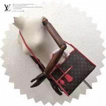 LV M43433-4 專櫃最新品POPINCOURT原版紅色皮配老花手提單肩包