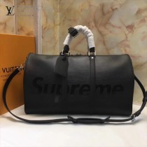 LV M53419 專櫃聯名款supreme keepall 45cm原單黑色水波紋手提單肩包旅行袋
