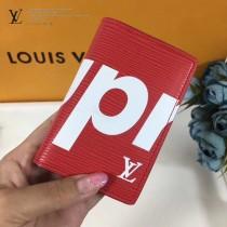 LV M61696-2 輕便小巧supreme限量版原單紅色水波紋兩折卡片夾