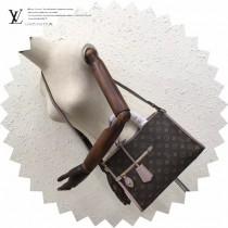 LV M43433-3 專櫃最新品POPINCOURT原版藕粉皮配老花手提單肩包