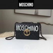 Moschino-045 時尚性感塗鴉logo黑色進口小羊皮鏈條單肩斜挎包