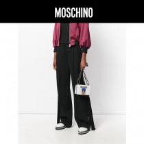 Moschino-053 蔡依林同款變形金剛小熊白色牛皮鏈條單肩斜挎包
