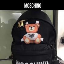 Moschino-056 人氣熱銷背帶泰迪小熊帆布配皮休閒雙肩包書包