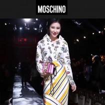 Moschino-043-4 趙麗穎同款背帶泰迪小熊粉色牛皮鏈條單肩斜跨包
