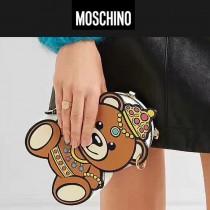 Moschino-044 春夏新品個性皇冠小熊進口牛皮鏈條單肩斜挎包