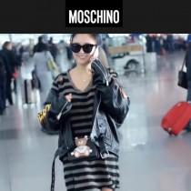 Moschino-043-3 趙麗穎同款背帶泰迪小熊黑色牛皮鏈條單肩斜跨包