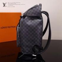 LV N40005 戶外必備ZACK黑色棋盤格配原版牛皮束口雙肩包登山包