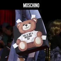 Moschino-048 網紅雪梨同款背帶泰迪小熊黑色牛皮手提單肩包購物袋