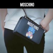 Moschino-053-2 蔡依林同款變形金剛小熊黑色牛皮鏈條單肩斜挎包