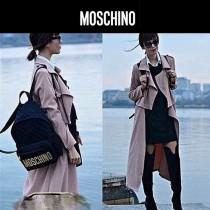 Moschino-065 左岸瀟同款金色字母縫菱格大號休閒雙肩包書包