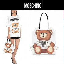Moschino-048-2 網紅雪梨同款背帶泰迪小熊白色牛皮手提單肩包購物袋