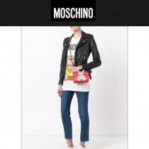 Moschino-043 趙麗穎同款背帶泰迪小熊紅色牛皮鏈條單肩斜跨包