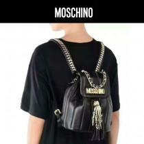 Moschino-050 個性新品鬼爪流蘇意大利進口山羊皮24k真金電鍍雙肩包