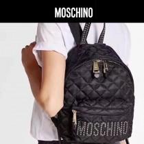 Moschino-064 人氣新品女士金色鉚釘縫菱格小號休閒雙肩包書包