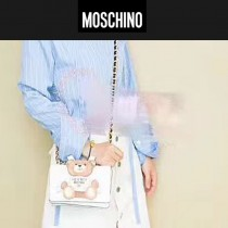 Moschino-043-2 趙麗穎同款背帶泰迪小熊白色牛皮鏈條單肩斜跨包