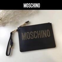 Moschino-067-2 潮流實用黑色納帕皮鉚釘LOGO設計手拎包手拿包