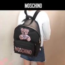 Moschino-070 專櫃復刻版本紙殼泰迪小熊黑色牛皮休閒雙肩包書包