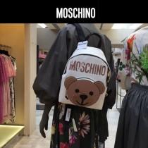 Moschino-068-2 可愛少女風紙殼小熊圖案白色牛皮休閒雙肩包書包