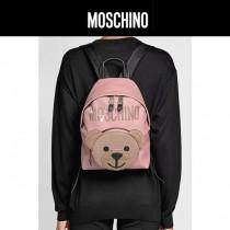 Moschino-068 可愛少女風紙殼小熊圖案粉色牛皮休閒雙肩包書包