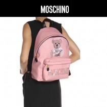 Moschino-070-2 專櫃復刻版本紙殼泰迪小熊粉色牛皮休閒雙肩包書包