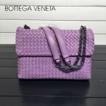 BV 168035-2 時尚新品粉紫色進口羊皮純手工編織單肩斜挎包