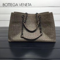 BV 168041-7 歐美經典款灰色編織羊皮磁釦開合單肩購物袋