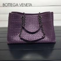 BV 168041-6 歐美經典款紫色編織羊皮磁釦開合單肩購物袋