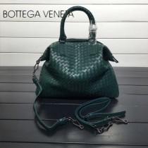 BV 193785-4 低調奢華墨綠色編織羊皮小號手提單肩包