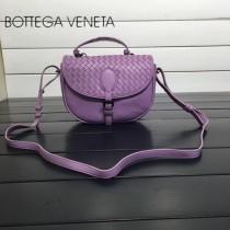 BV 357178-2 休閒新品粉紫色純手工編織羊皮手提單肩斜挎包