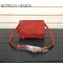 BV 168060-2 簡約休閒橘紅色編織羊皮雙面隔層單肩斜挎包