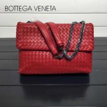 BV 168035-3 時尚新品紅色進口羊皮純手工編織單肩斜挎包