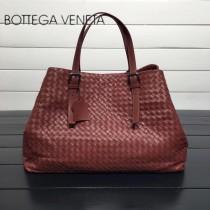 BV 272154-5 明星同款棗紅色編織羊皮大容量單肩購物袋