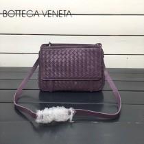 BV 168060 簡約休閒紫色編織羊皮雙面隔層單肩斜挎包