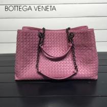 BV 168041-10 歐美經典款粉色編織羊皮磁釦開合單肩購物袋