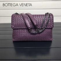 BV 168035-4 時尚新品紫色進口羊皮純手工編織單肩斜挎包