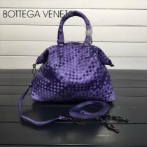 BV 193785-6 低調奢華幻彩紫色編織羊皮小號手提單肩包