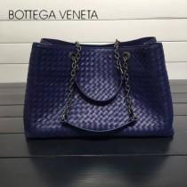 BV 168041-9 歐美經典款寶石藍編織羊皮磁釦開合單肩購物袋