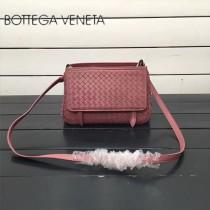 BV 168060-6 簡約休閒粉紅色編織羊皮雙面隔層單肩斜挎包