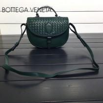 BV 357178 休閒新品墨綠色純手工編織羊皮手提單肩斜挎包