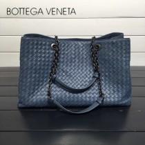 BV 168041-3 歐美經典款灰藍色編織羊皮磁釦開合單肩購物袋