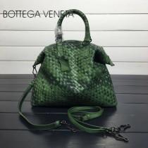 BV 193785-7 低調奢華幻彩墨綠色編織羊皮小號手提單肩包