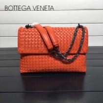 BV 168035 時尚新品橙色進口羊皮純手工編織單肩斜挎包