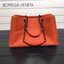BV 168041-8 歐美經典款橙色編織羊皮磁釦開合單肩購物袋