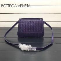 BV 168060-8 簡約休閒紫色編織羊皮雙面隔層單肩斜挎包