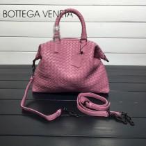 BV 193785-13 低調奢華粉色編織羊皮小號手提單肩包