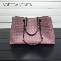 BV 168041-12 歐美經典款淺粉色編織羊皮磁釦開合單肩購物袋
