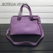 BV 168040 時尚新品粉紫色進口羊皮純手工編織小號手提單肩包