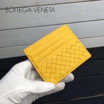 BV 1323 輕便實用黃色進口編織羊皮7卡位卡片夾