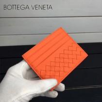 BV 1323-8 輕便實用橙色進口編織羊皮7卡位卡片夾