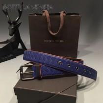 BV-00053-2 低調奢華男女款藍色編織原版山羊皮配紅邊皮帶腰帶